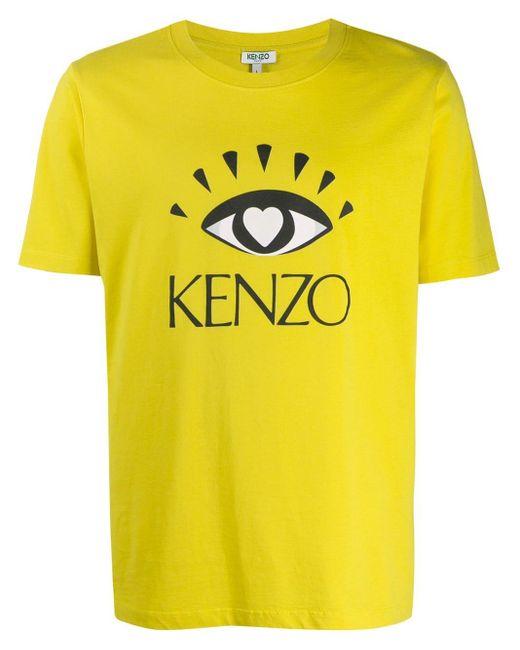 メンズ KENZO Cupid プリント Tシャツ Yellow