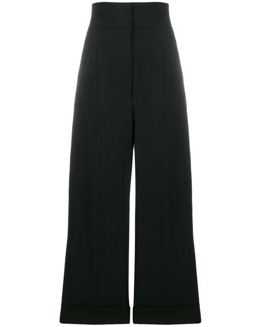 Alberta Ferretti Pantalones anchos de vestir de mujer de color negro