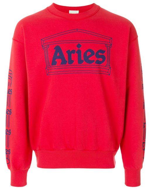 メンズ Aries プリントスウェットシャツ Red