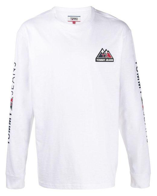 メンズ Tommy Hilfiger ロゴ ロングtシャツ White