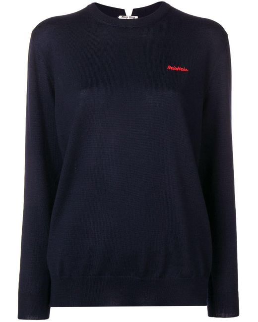 Miu Miu ロゴエンブロイダリー セーター Blue