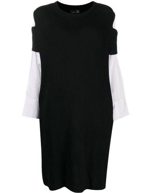 Y's Yohji Yamamoto コントラストパネル ニットドレス Black