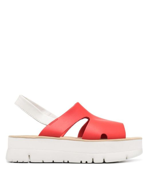 Camper Red Oruga Up Platform Sandals