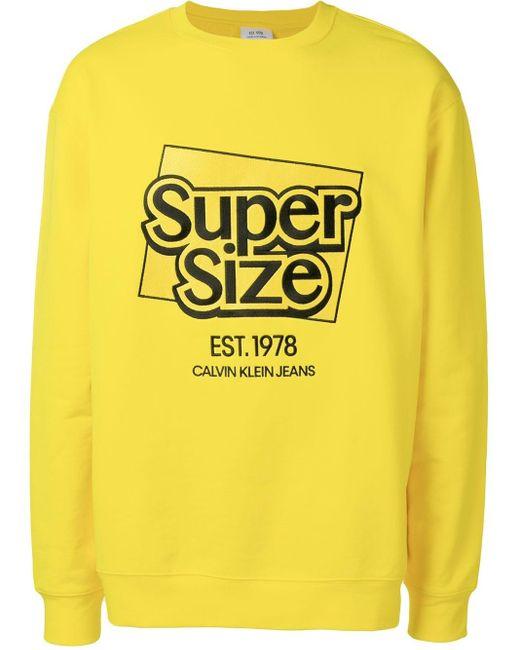 メンズ CALVIN KLEIN JEANS EST. 1978 スローガン スウェットシャツ Yellow
