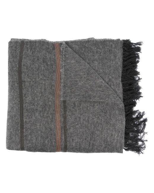 Пончо В Полоску С Бахромой Brunello Cucinelli, цвет: Gray