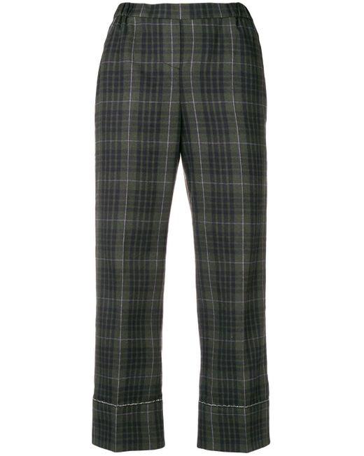 N°21 Green Karierte Cropped-Hose