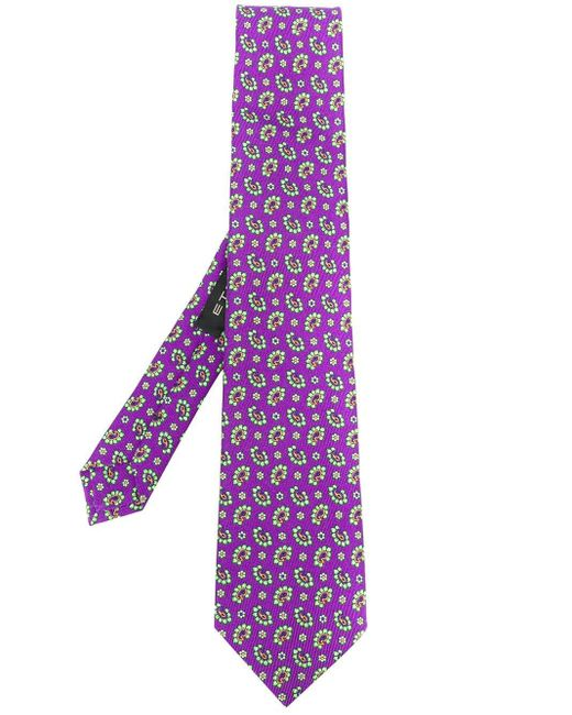 メンズ Etro パターン ネクタイ Purple