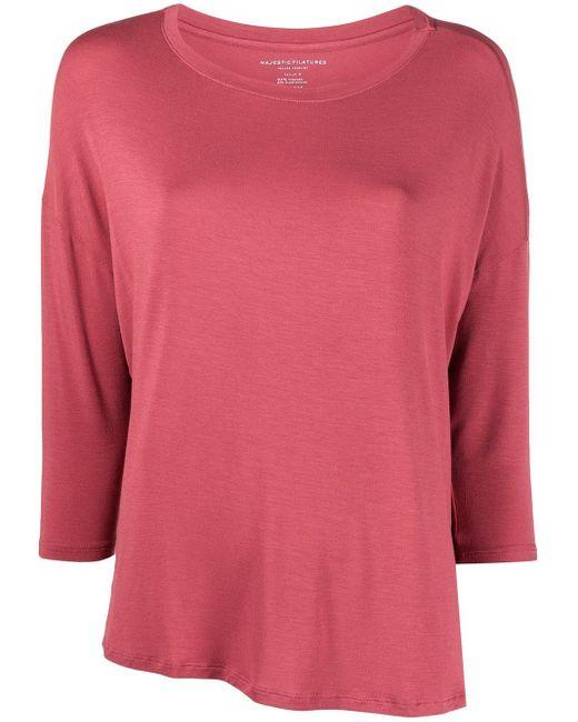 Majestic Filatures Pink Round Neck T-shirt