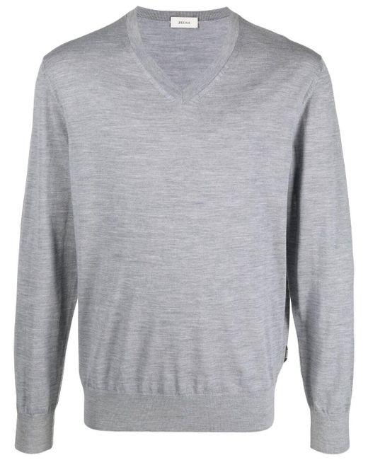 Z Zegna Gray V-neck Fine-knit Jumper for men