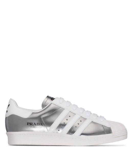 Adidas X Prada Superstar レザー スニーカー Gray