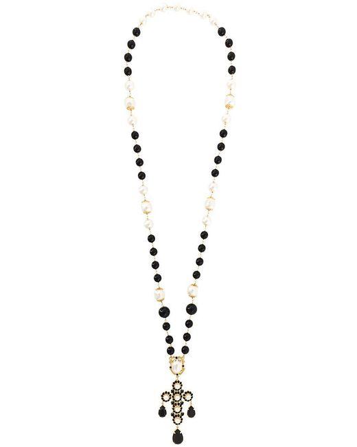 Dolce & Gabbana - Black Crystal Bead Lariat Necklace - Lyst
