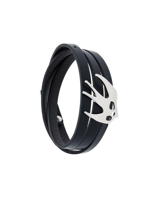 McQ Alexander McQueen - Black Enameled Swallow Bracelet - Lyst