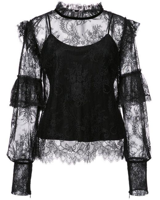 Josie Natori - Black Camisole Lace Blouse - Lyst