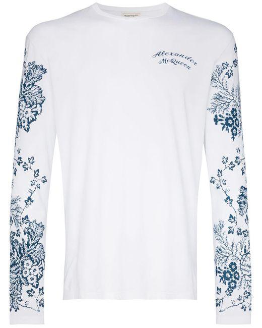 メンズ Alexander McQueen フローラル Tシャツ White