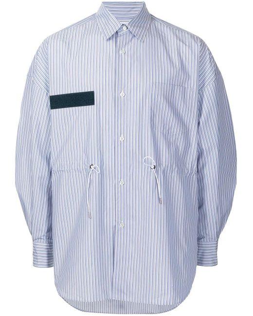 Camisa a rayas con cordón en la cintura Fumito Ganryu de hombre de color Blue