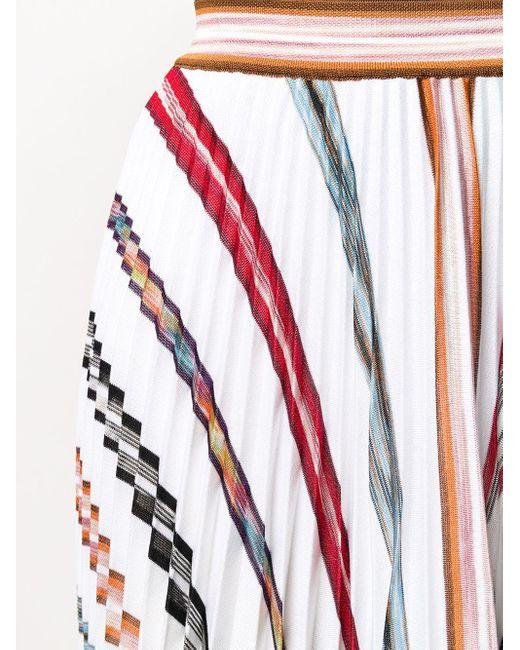 Gonna plissettata a righe di Missoni in Multicolor