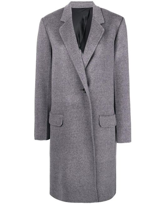 Helmut Lang - Gray Single Breasted Coat - Lyst