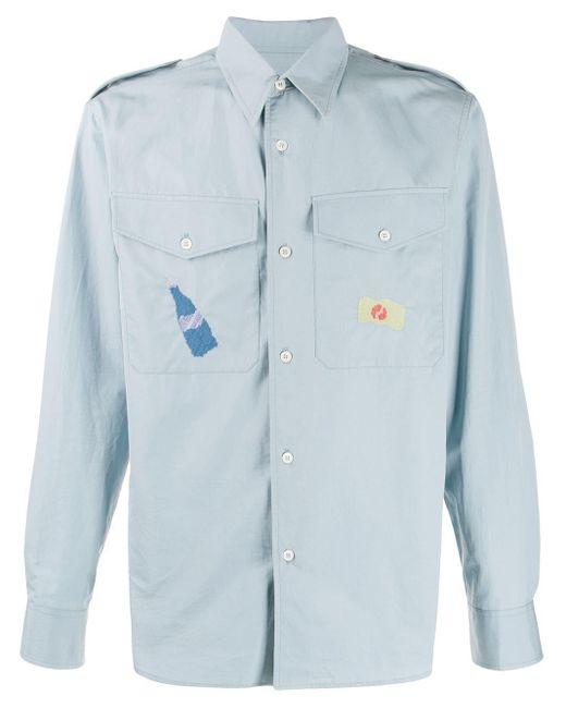 メンズ Marni チェストポケット シャツ Blue