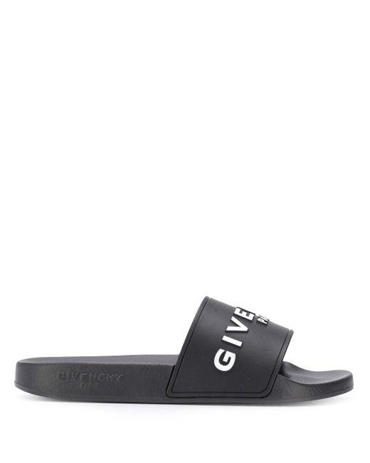 Givenchy ブラック ロゴ プール スライド Black