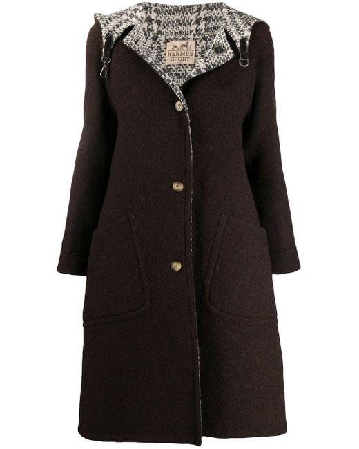 Abrigo reversible con capucha pre-owned 1990 Hermès de color Brown