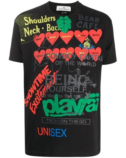 メンズ Vivienne Westwood スローガン Tシャツ Black