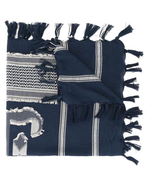 メンズ Undercover パターン スカーフ Blue