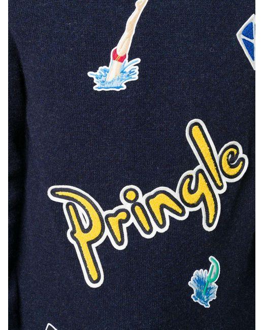 メンズ Pringle of Scotland マルチパッチ セーター Blue