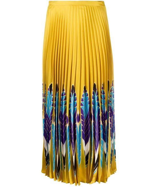 Плиссированная Юбка Миди С Принтом Valentino, цвет: Yellow
