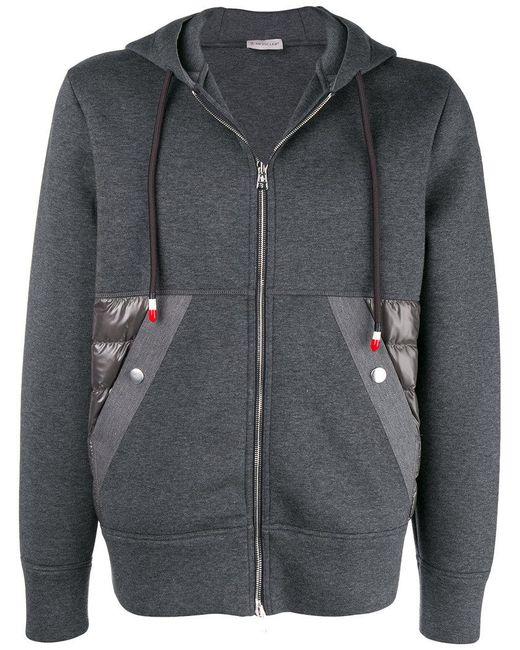 497beca3e Lyst - Moncler Zipped Hooded Sweatshirt in Gray for Men
