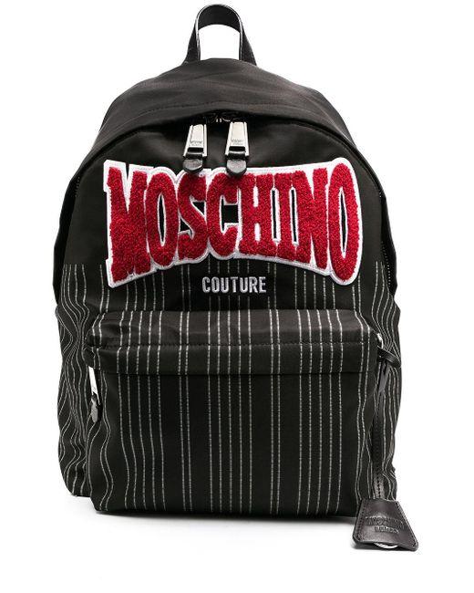 メンズ Moschino ロゴパッチ バックパック Black