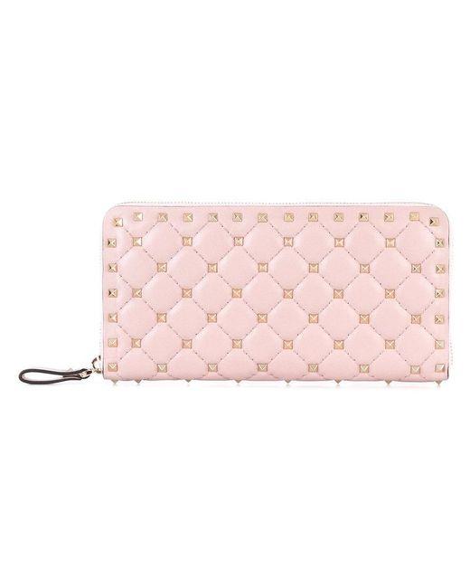 Valentino - Pink Garavani Rockstud Spike Leather Wallet - Lyst