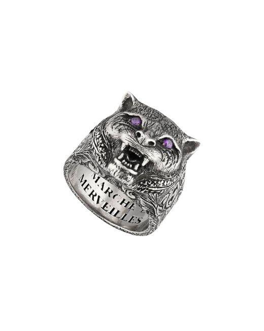 Gucci ' Garden' Ring mit Felinekopf in Metallic für Herren