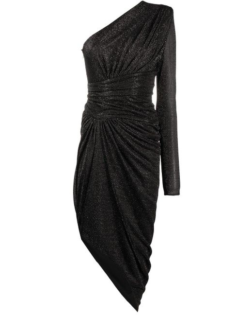 Alexandre Vauthier Black One-shoulder Glitter Dress