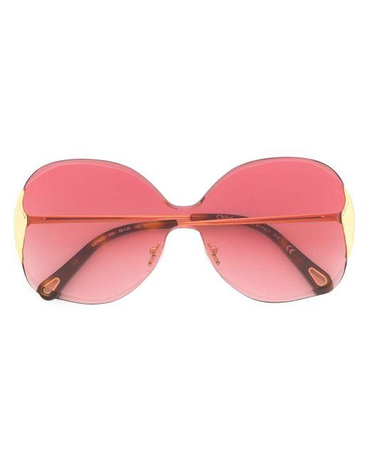 Occhiali da sole bicolore oversize di Chloé in Metallic