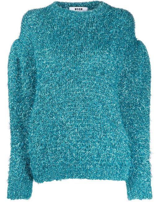 Джемпер С Пышными Рукавами И Блестками MSGM, цвет: Blue