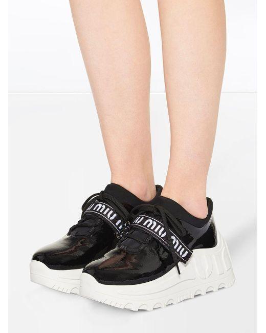 Miu Miu Black Sneakers mit Plateau