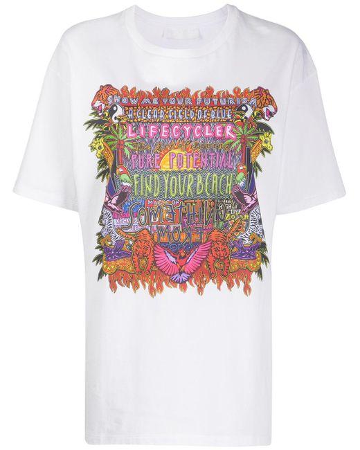 Neil Barrett Camiseta oversize con estampado gráfico de mujer de color blanco K3TUn