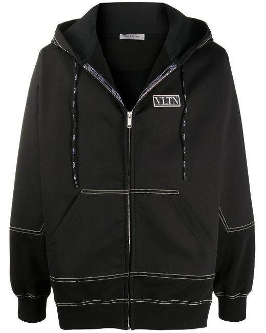 Valentino Black Vltn-patch Hooded Jacket for men