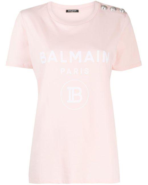Balmain ロゴプリント Tシャツ Pink