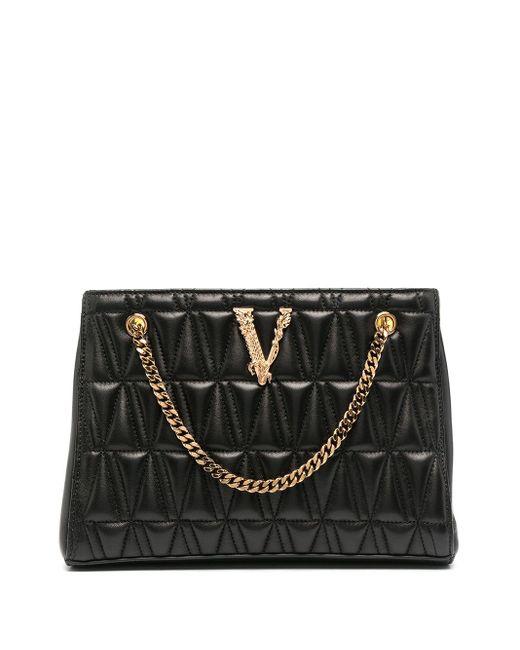 Стеганая Сумка-тоут С Логотипом Versace, цвет: Black