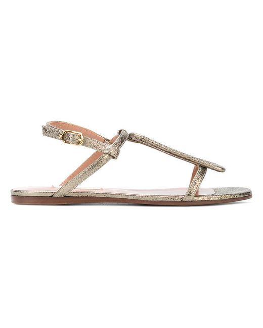 L'Autre Chose - Metallic Flat Court Sandals - Lyst