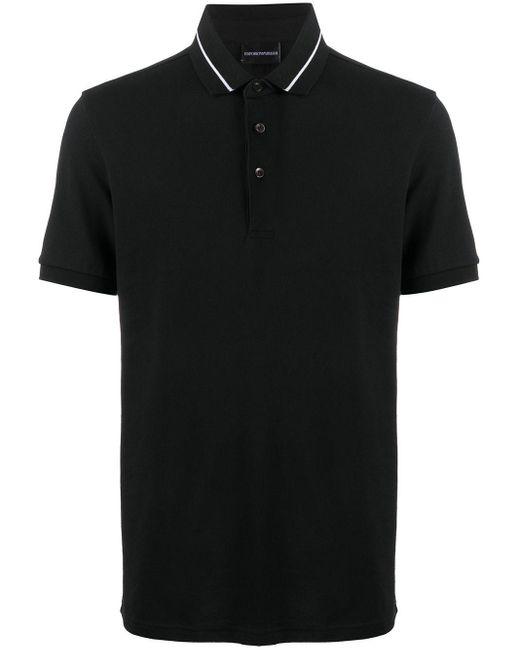 メンズ Emporio Armani ショートスリーブ ポロシャツ Black