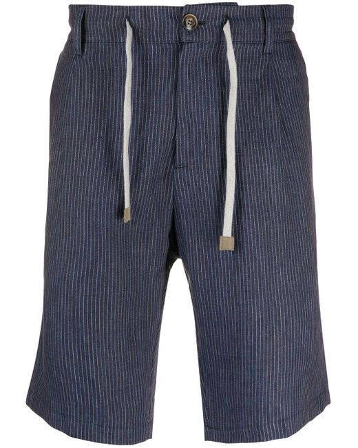 Eleventy Blue Striped Burmuda Shorts for men
