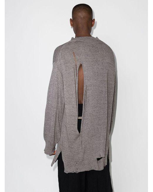 Yohji Yamamoto Feinstrickpullover im Distressed-Look in Gray für Herren