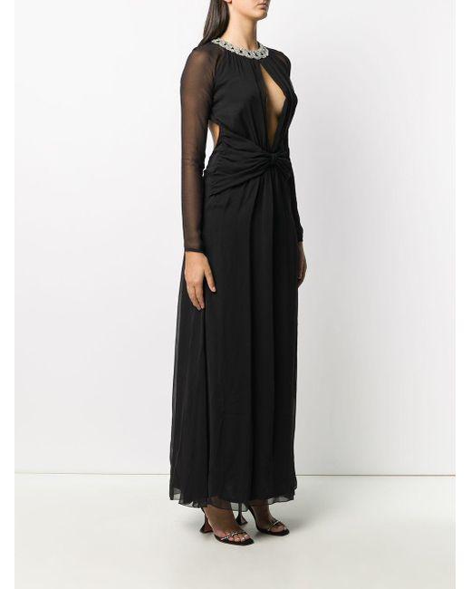 Amen ビジュートリム イブニングドレス Black