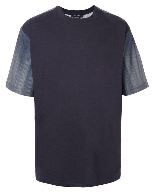 メンズ Qasimi カラーブロック Tシャツ Blue