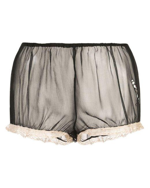 Kiki de Montparnasse Black X Caroline Vreeland Microphone Sheer Shorts
