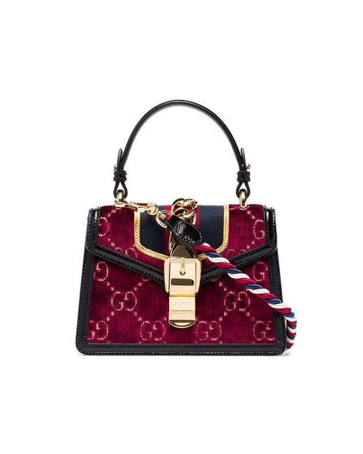93f90b6471ef98 Gucci - Multicoloured Sylvie Mini Logo Velvet And Leather Shoulder Bag -  Lyst ...