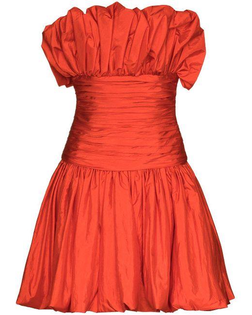 Carolina Herrera シャーリング ミニドレス Orange