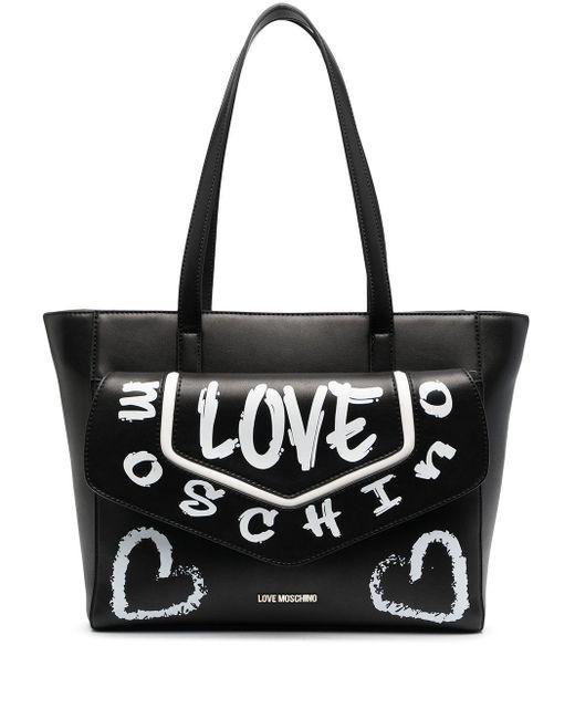 Love Moschino グラフィティ アニマルフリーレザーハンドバッグ Black